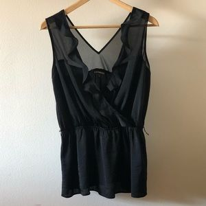 Express Black Blouse with Removable Belt